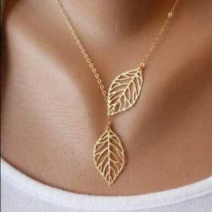 Gold Leaf Adjustable Pendant Necklace